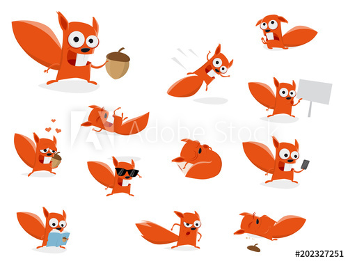 funny cartoon squirrel clipart collection.