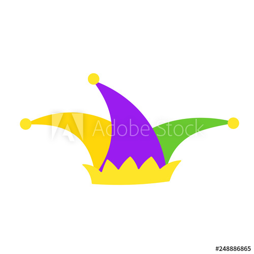 Mardi Gras jester hat flat icon. Clipart image isolated on.