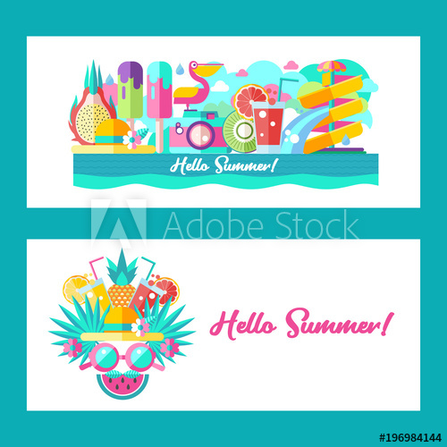 Hello summer. Vector clipart..