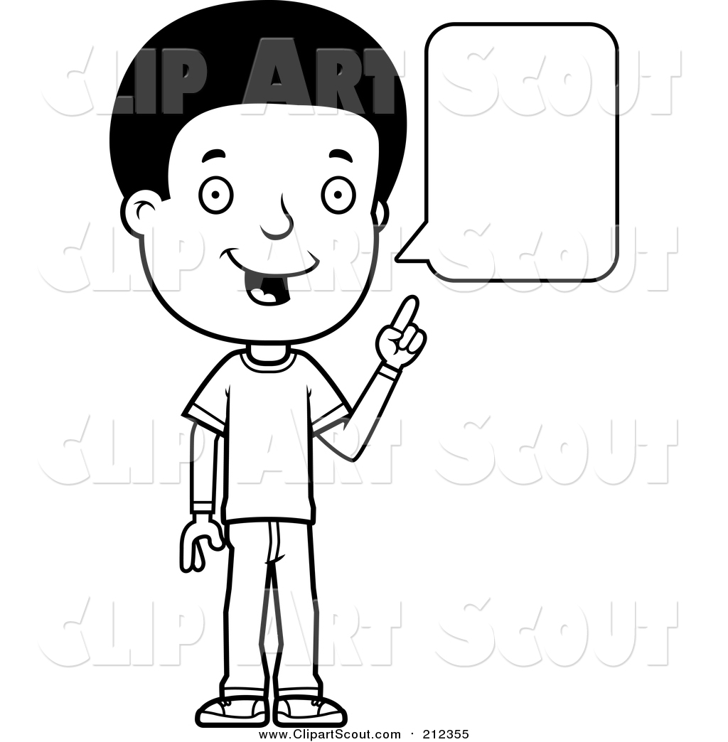 Clipart of a Black and White Lineart Adolescent Teenage Boy.