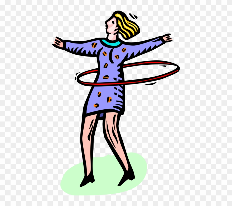 Vector Illustration Of Young Adolescent Girl Plays Clipart.