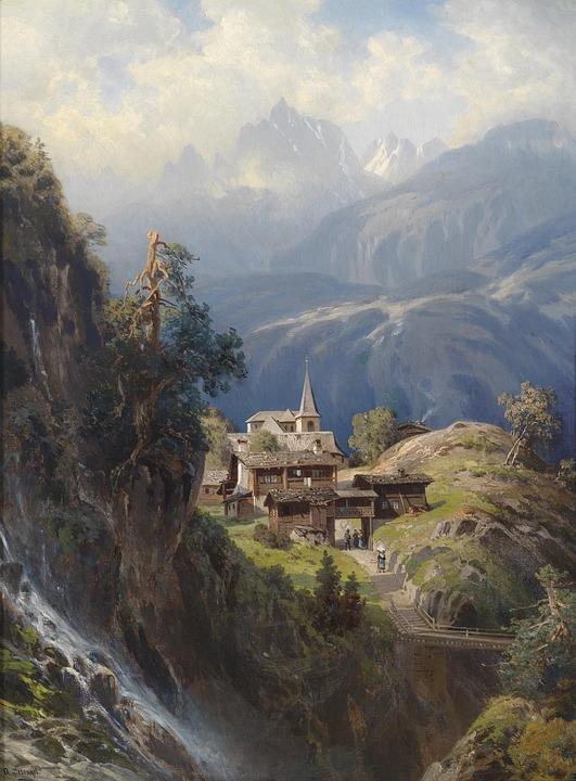 Free photo Artistic Oil On Canvas Adolf Dorf Painting Art.