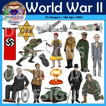 A collection of World War II clip art. Images feature Adolf Hitler.