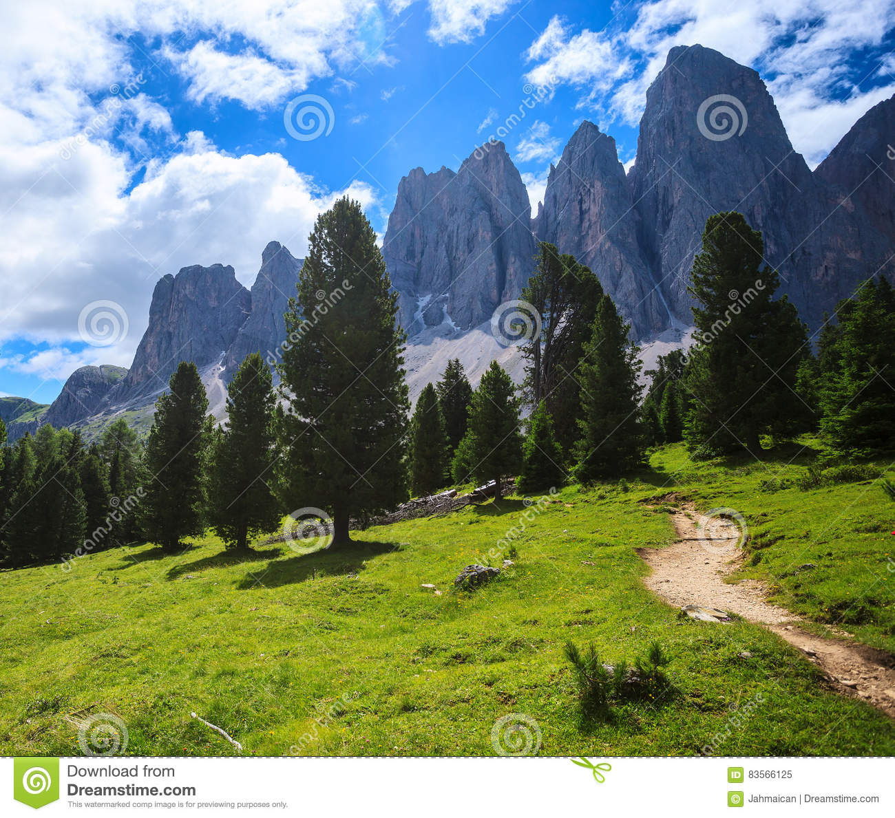 Adolf Munkel Trail In Alps Stock Photo.