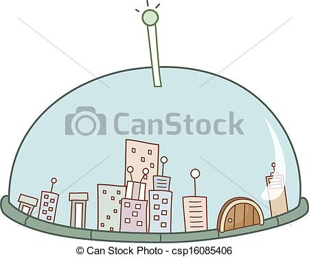 Vector Clipart of The city in the dome csp16085406.