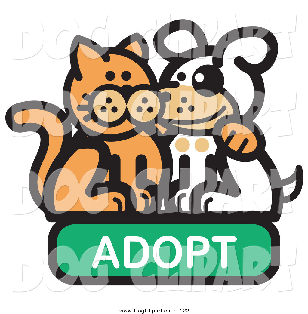 Vector Clip Art of a Smiling Orange Cat with His Arm Around a Cute.
