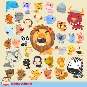 Adorable Animals Clipart Set.