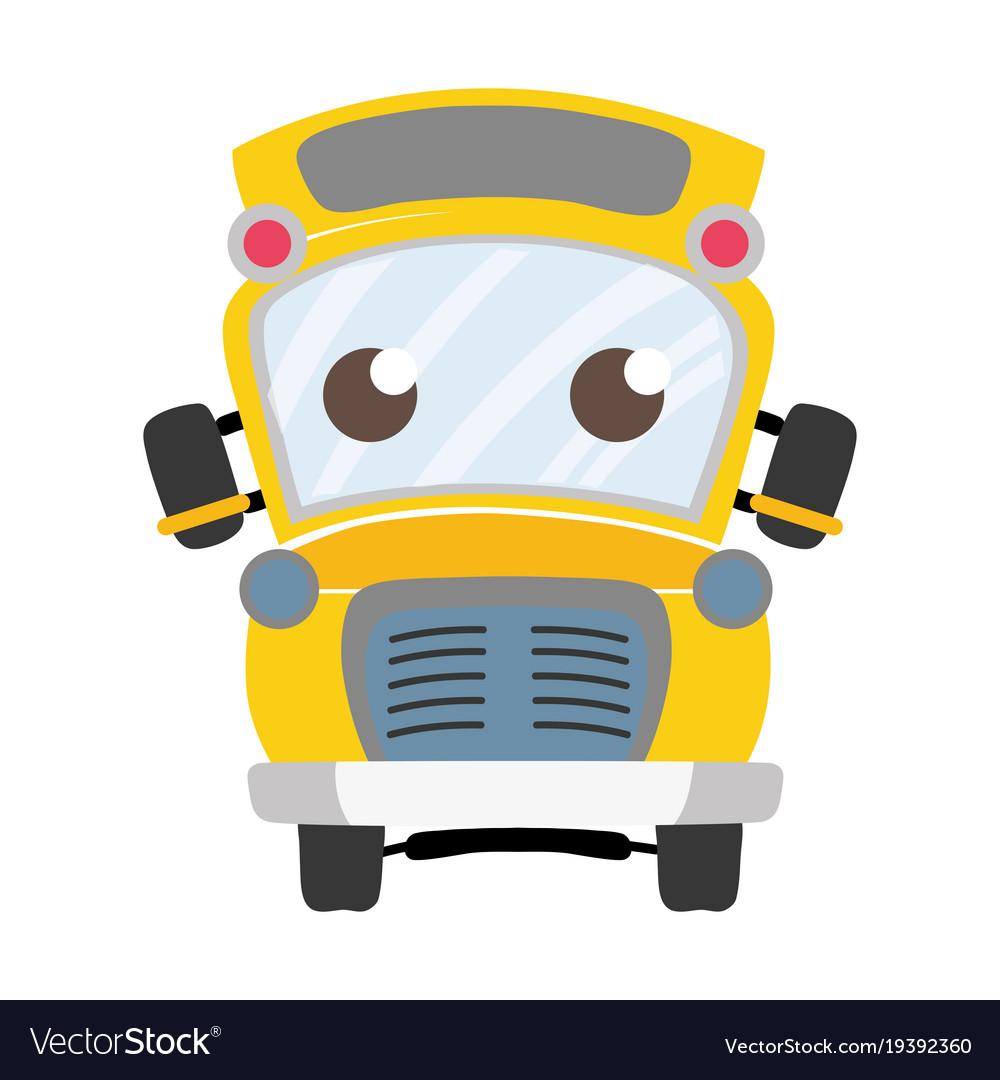 Colorful cute and tender school bus kawaii.