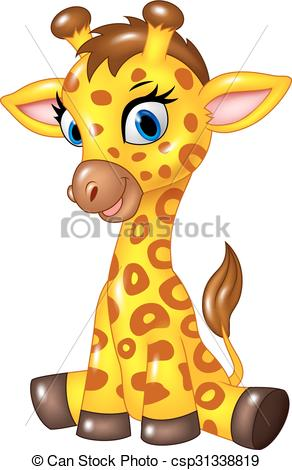 Vector Clip Art of Adorable baby giraffe sitting.