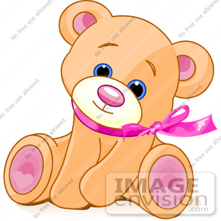 Clip Art Of An Adorable Brown Teddy Bear Wearing A Pink Ribbon.