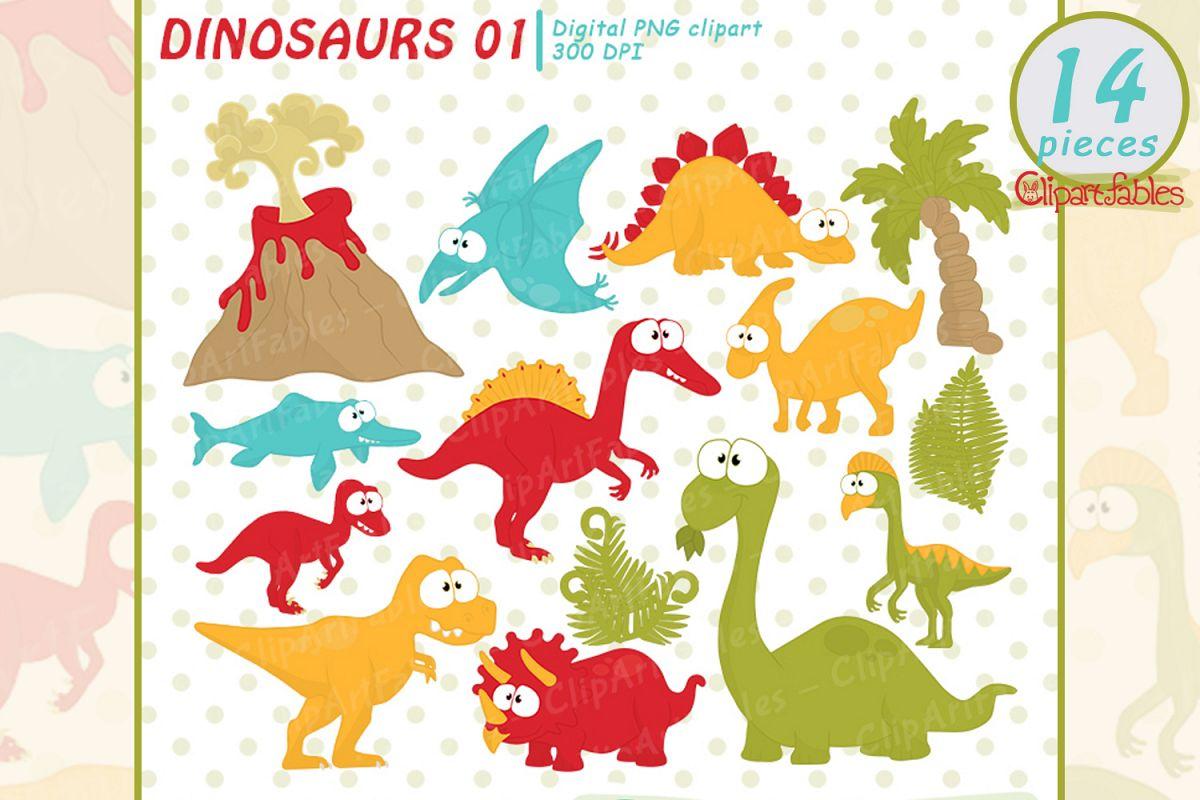 DINOSAUR clipart, Cute dino clip art set, good dinosaurs.