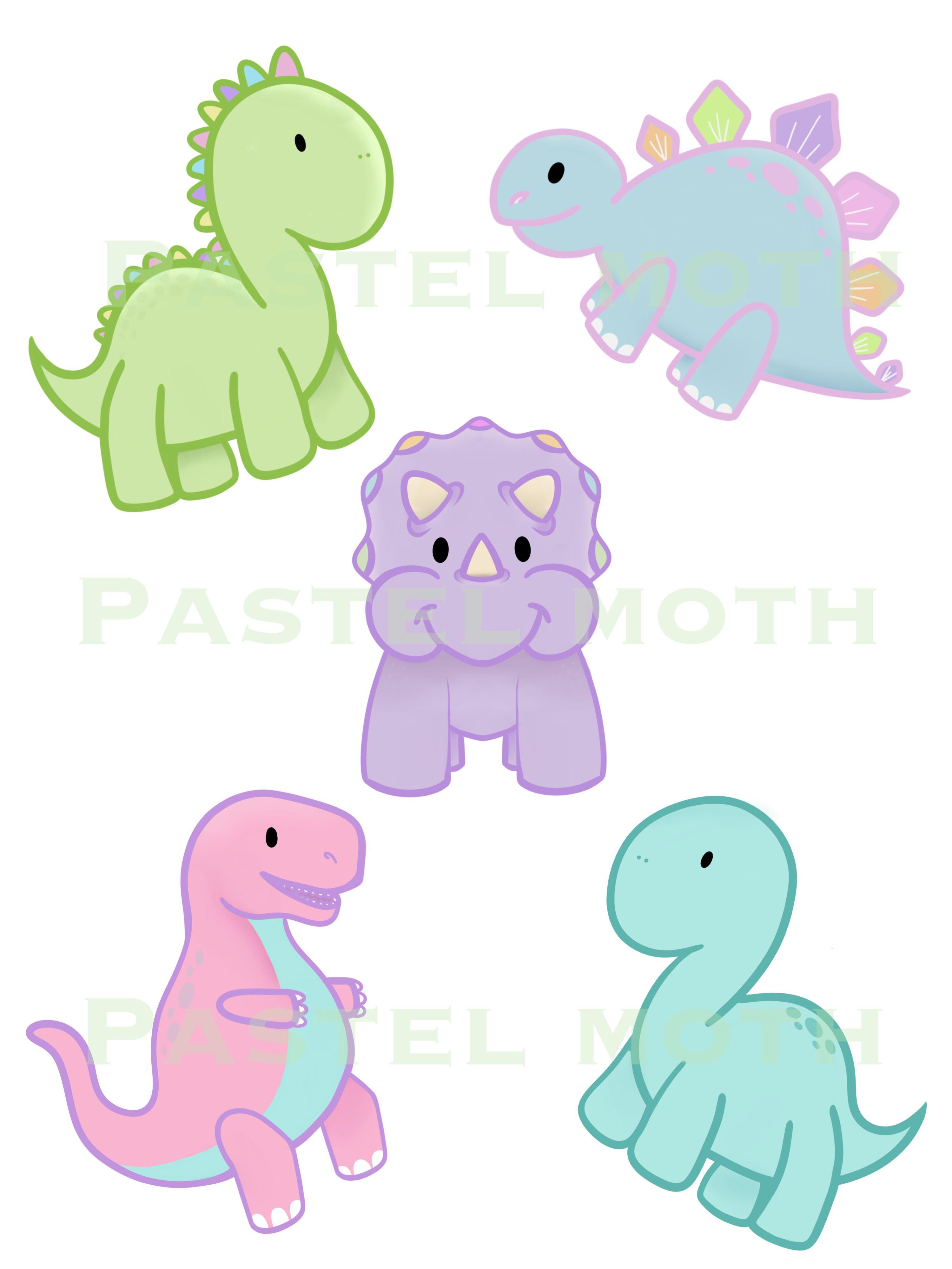 Cute pastel dinosaur clipart PNG jpeg DIGITAL FILE in 2019.
