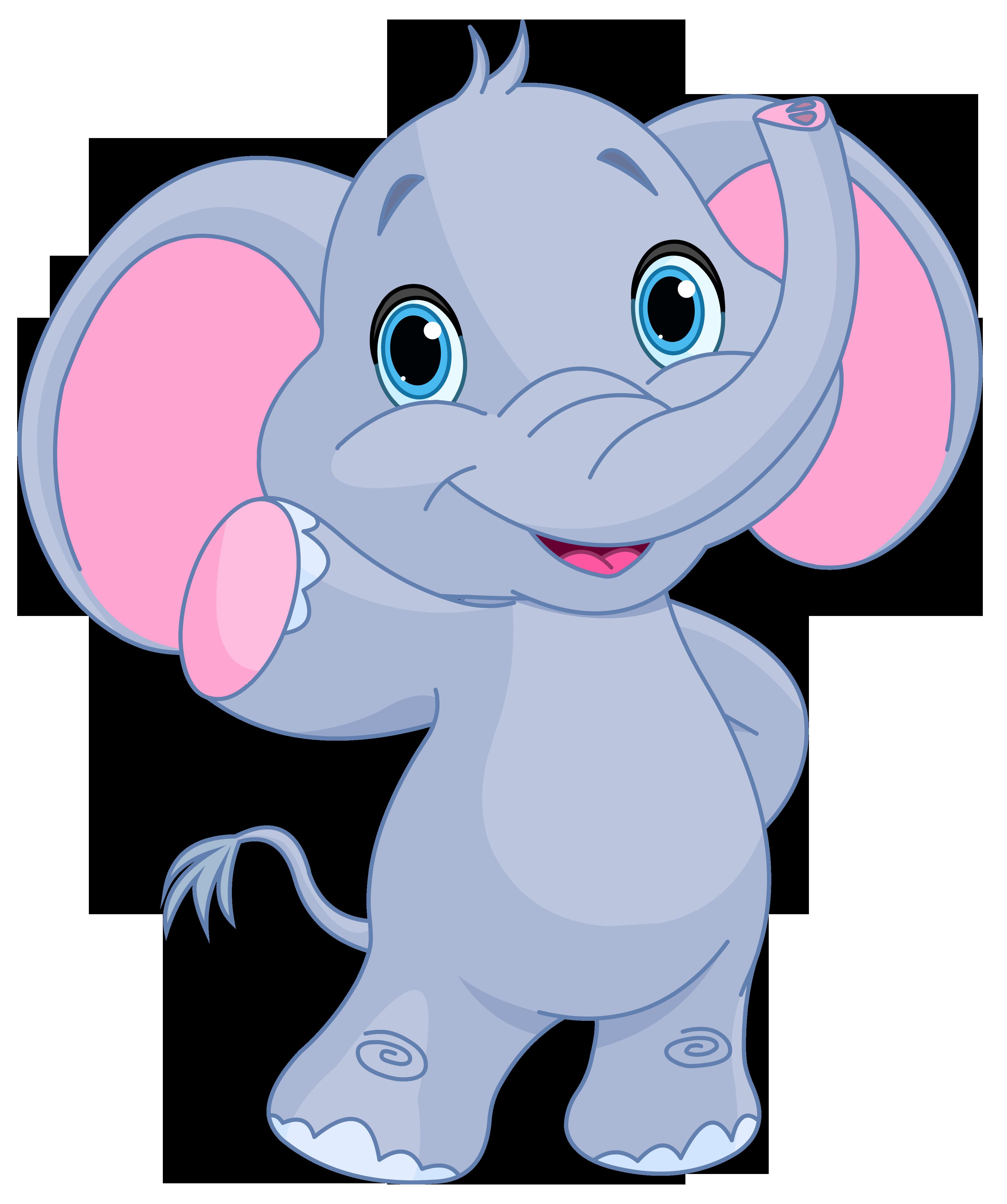 Cute elephant clipart image.