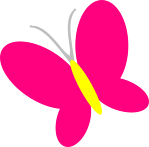 Cute Pink Butterfly Clipart.