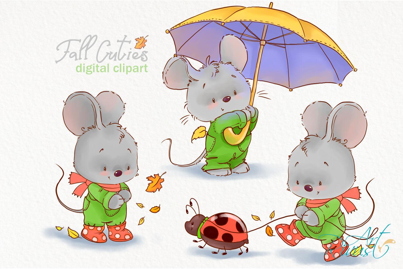 Fall clipart. Cute mouse clip art. Little mouse.