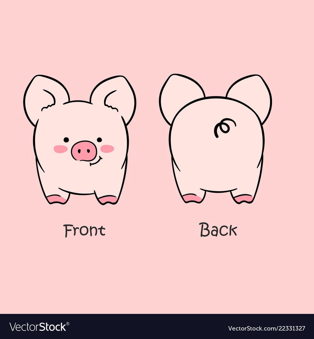 Cartoon cute pink pig drawn with a tablet.