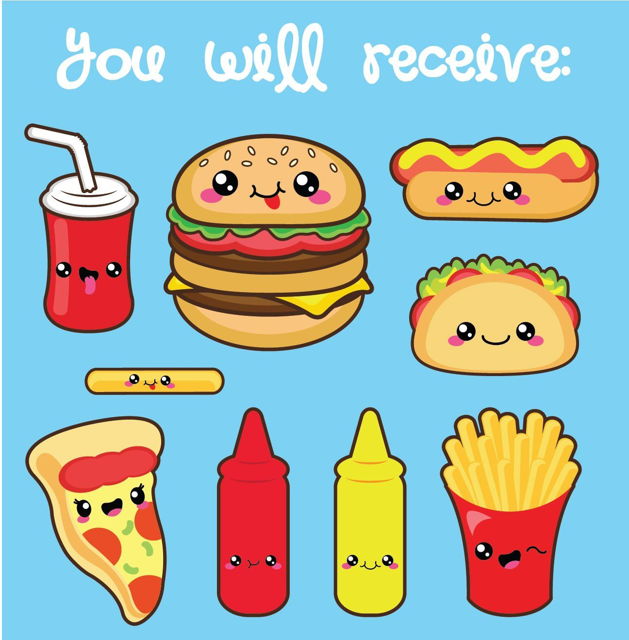 Kawaii clipart, kawaii fast food clipart, kawaii food.