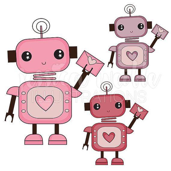 Love Bot Cute Digital Clipart, Cute Robot Clip art, Robot.