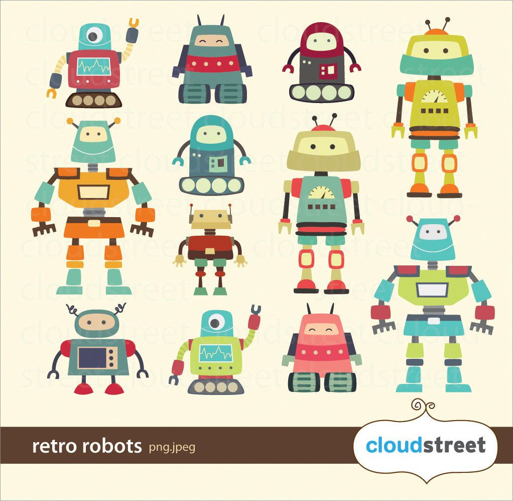 Cute Robots Clipart for personal and commercial use ( cute.
