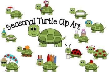 Seasonal Turtle Clip Art.
