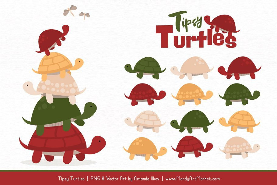 Christmas Turtle Stack Clipart.