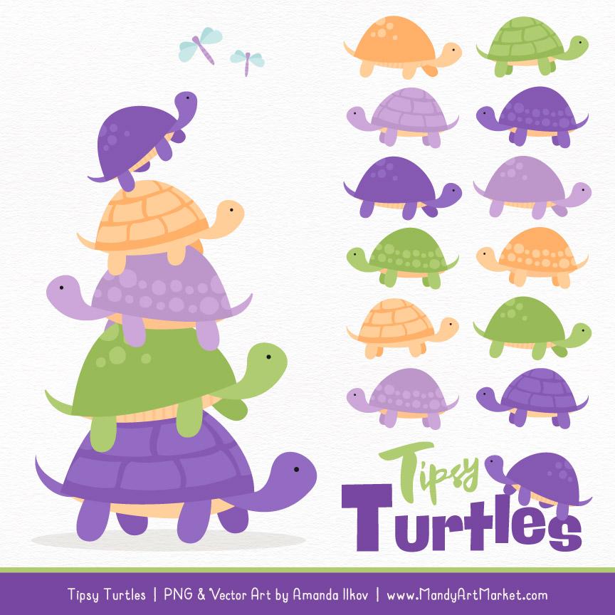 Crocus Turtle Stack Clipart Vectors.