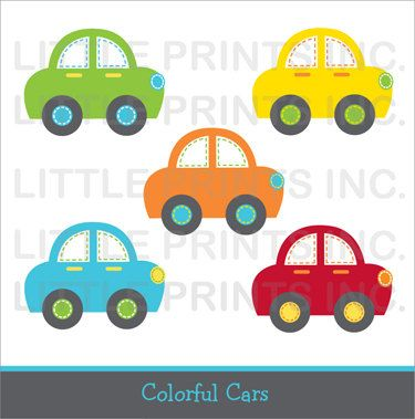 Cute Car Clipart / Colorful Car Clip Art / Car Baby Shower.