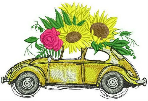 Volkswagen Beetle with sunflowers.
