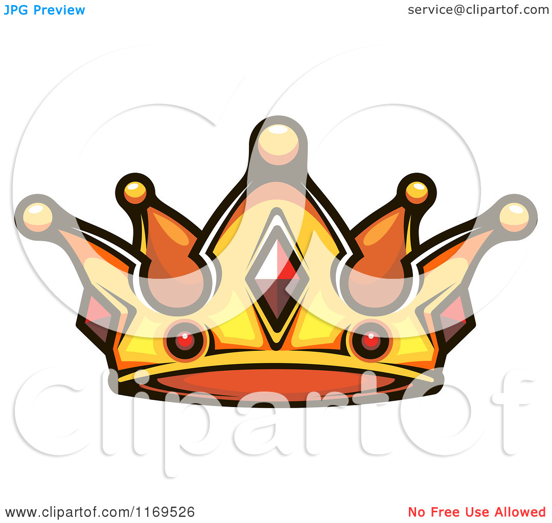 Clipart of a Gold Crown Adorned with Rubies.