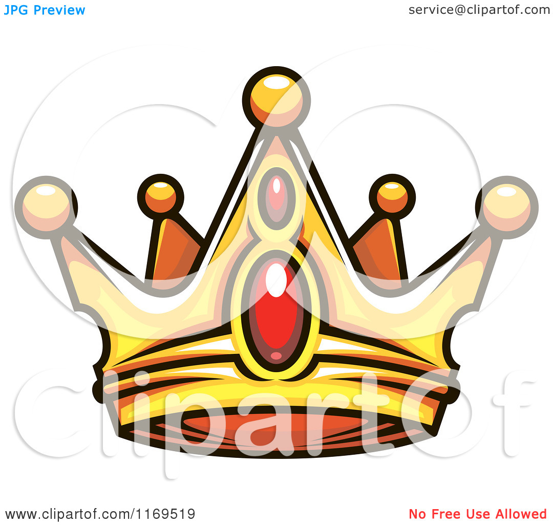 Clipart of a Gold Crown Adorned with Rubies 2.