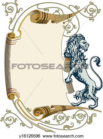 Clip Art of Scroll with Lion Adornment u16126596.