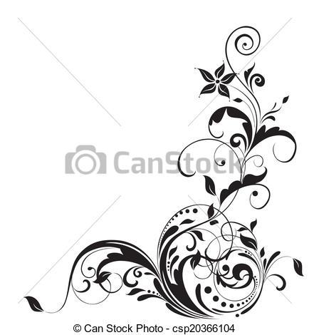 Vector Clipart of Floral adornment csp20366104.