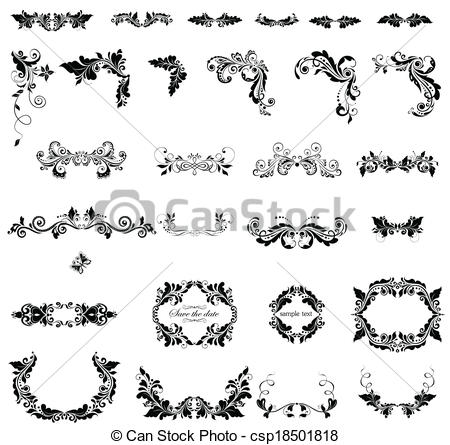 Vector Clip Art of Floral adornment (black and white) csp18501818.
