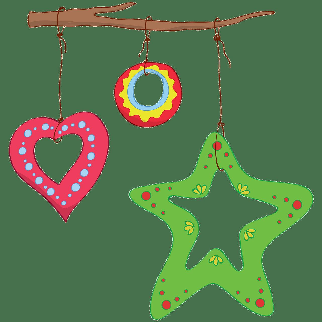 Adornos navideños en una rama clipart. Dibujos animados.