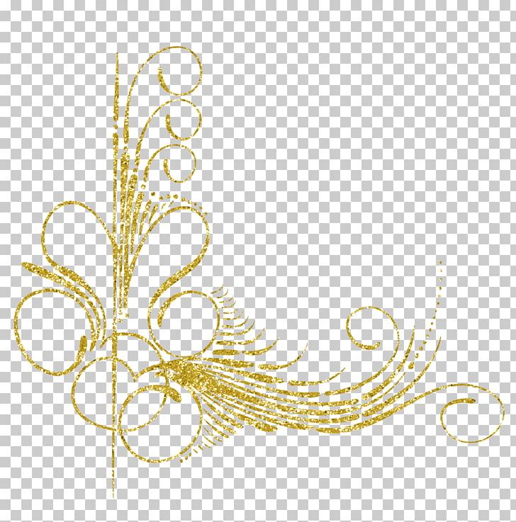 Diseño digital dorado, adorno de plumas con motivos, adornos.