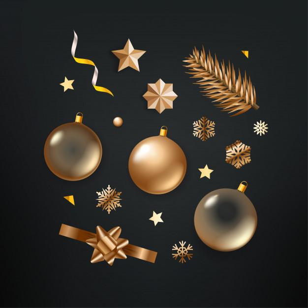 Clipart de elementos de navidad dorados diferentes sobre.