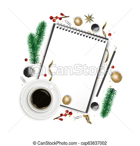 Composición navideña. papel en blanco, ramas de árbol de.