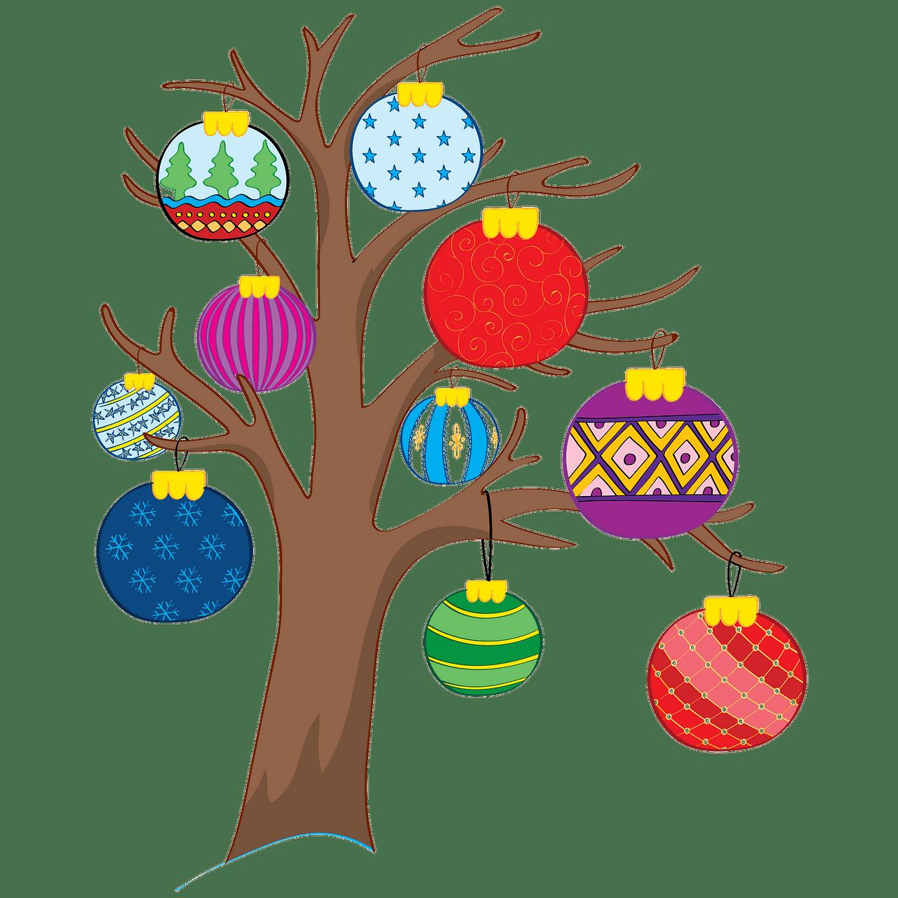 Árbol con adornos navideños clipart. Dibujos animados.