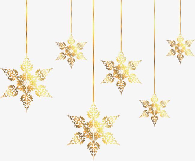 Golden Snowflake Holiday Ornaments, Golden, Correa, Adornos.