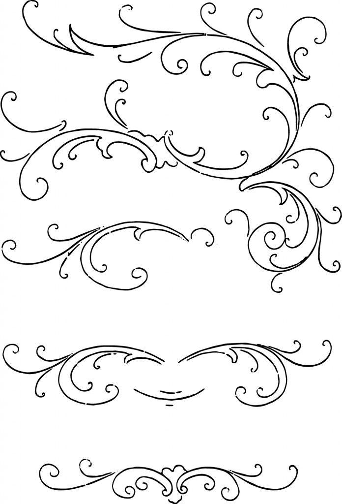 Free calligraphy ornaments clip art.