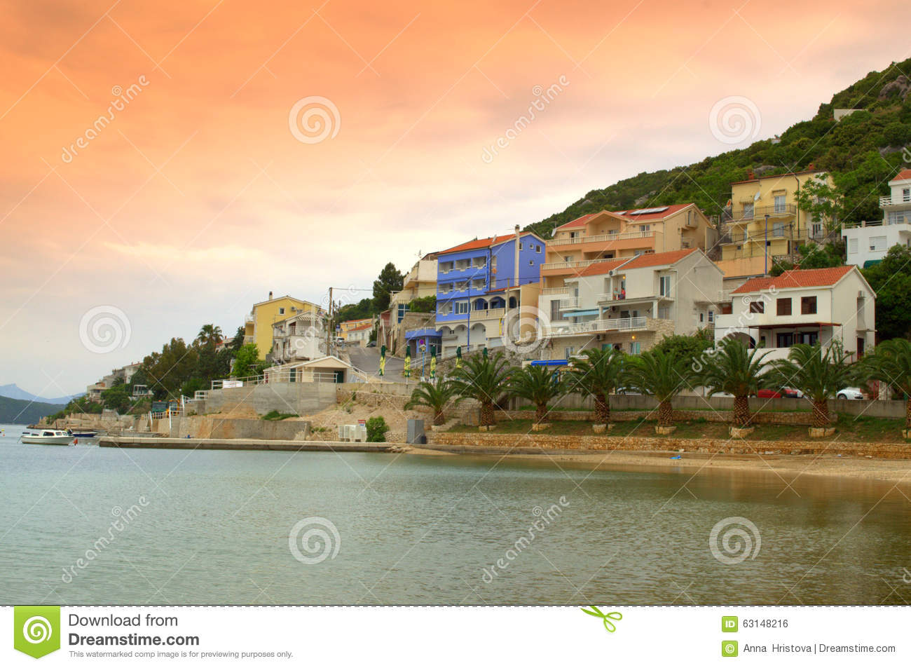 Nice Small Town On Adriatic Coast Stock Photo.
