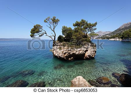 Stock Photos of Famous rock island in Brela, Adriatic coast of.