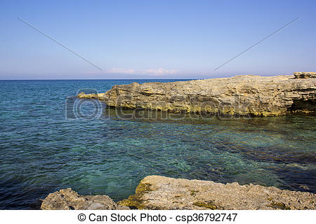 Stock Photo of Cliffs of Salento. San Foca coast.