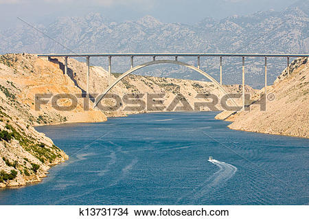Stock Photo of Maslenica Strait of the Adriatic Sea, north of.