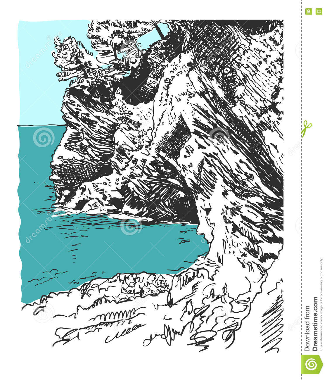 Sketch Drawing Of Nature Rock At Adriatic Sea In Petrovac Monten.