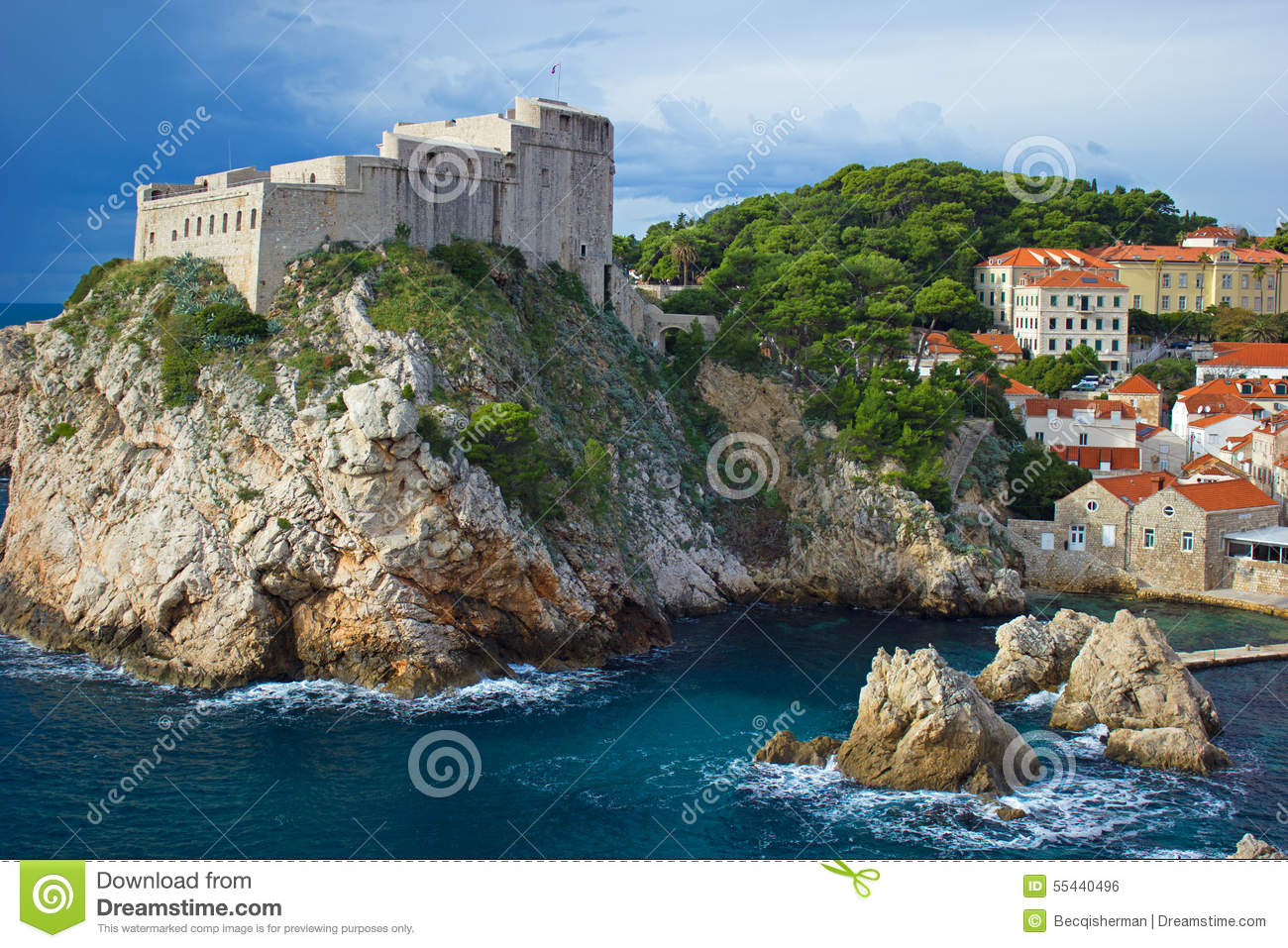 Fort On Hill Overlooking Adriatic Sea On Dalmatian Coast Dubrovnik.