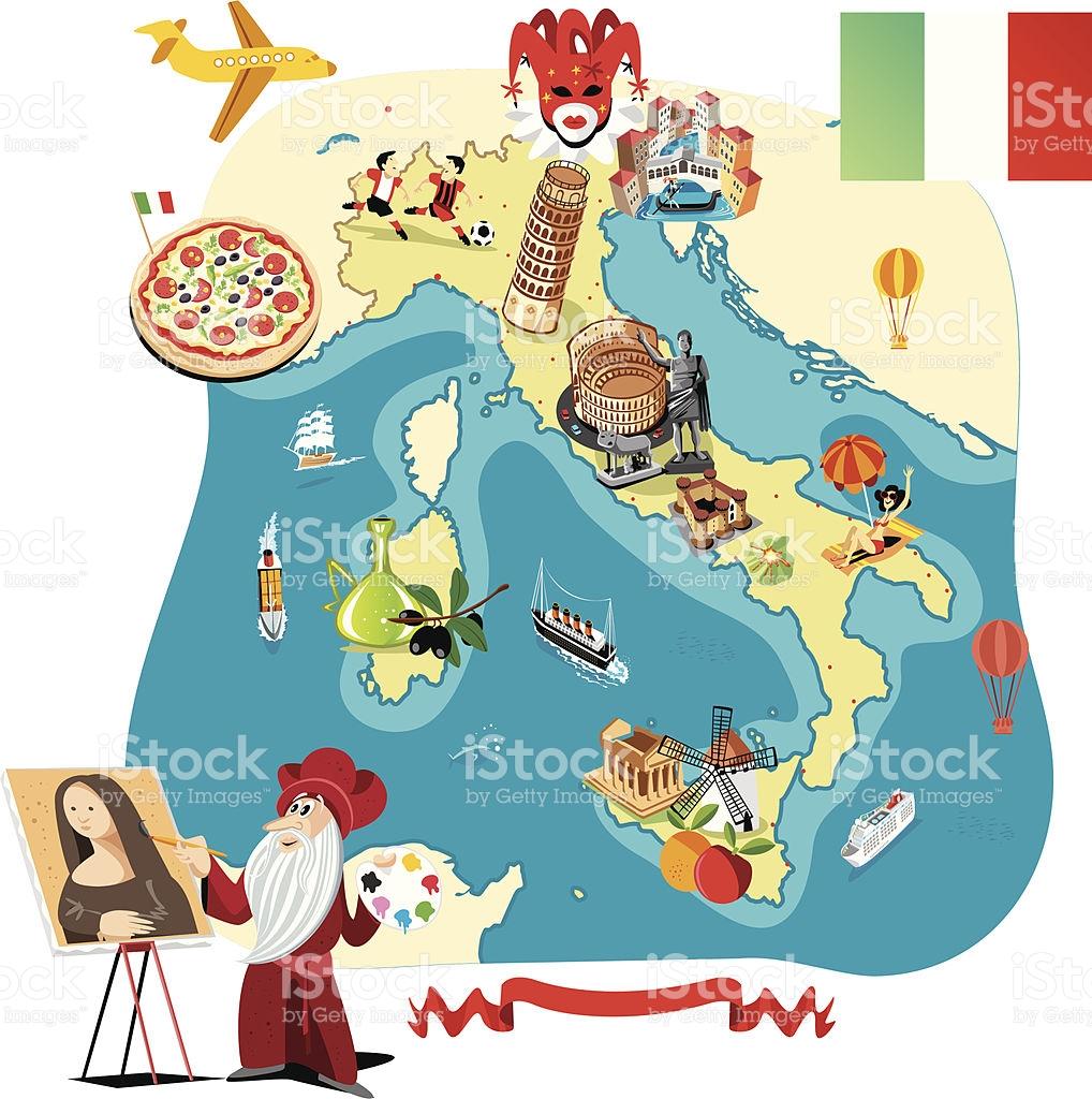 Cartoon Map Of Italy stock vector art 166079616.
