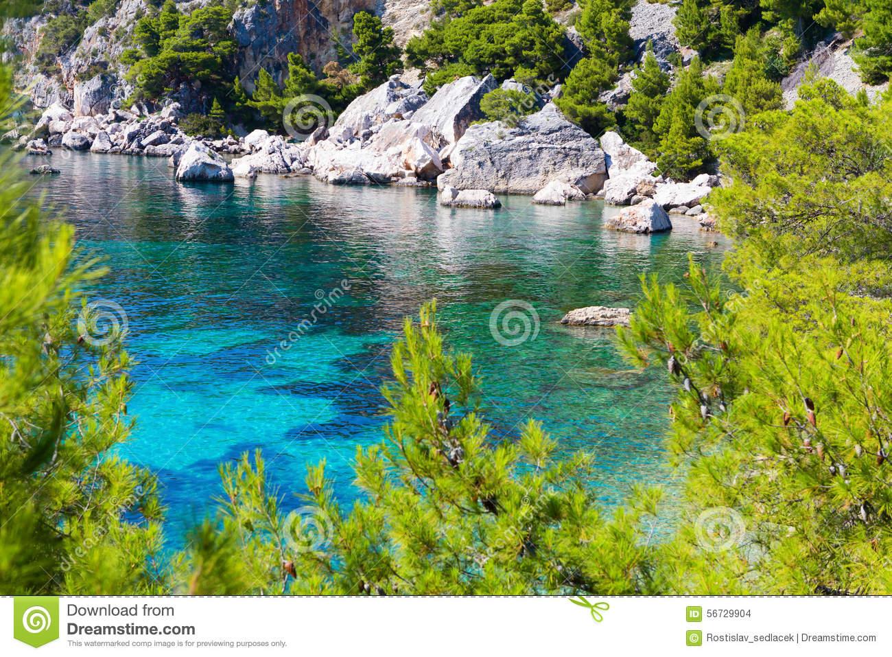 Island Paradise In Adriatic Sea Of Croatia Stock Photo.
