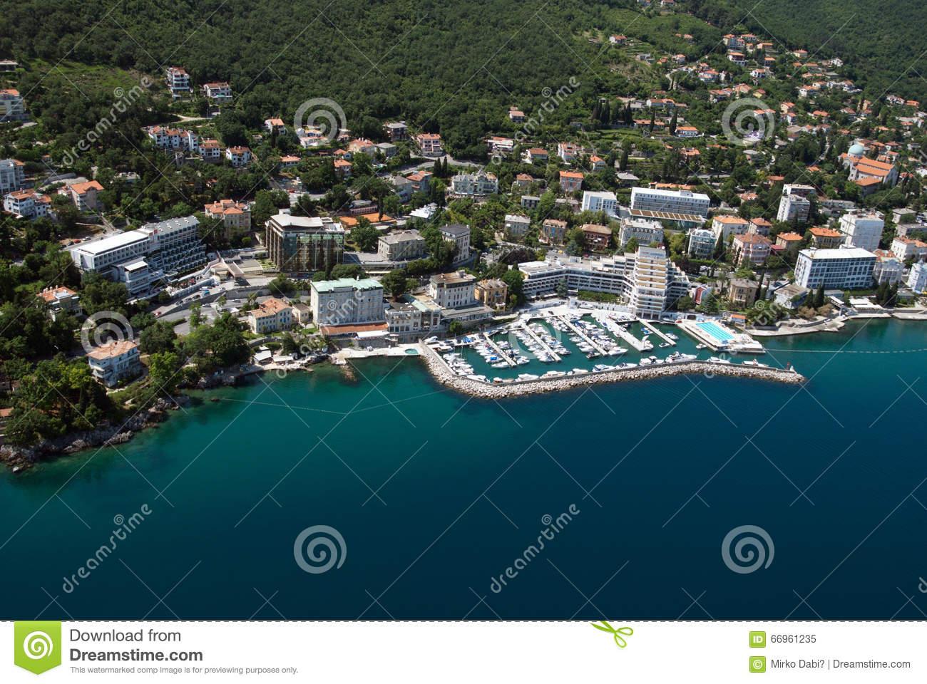Air Photo Of Opatija On Adriatic Sea In Croatia With Hotel Admiral.