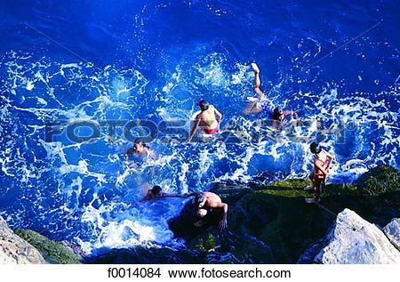Stock Photo of Dubrovnik, children bathing in the Adriatic sea.